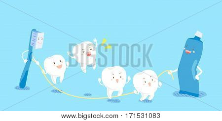cute cartoon tooth play rope skipping happily with brush and paste