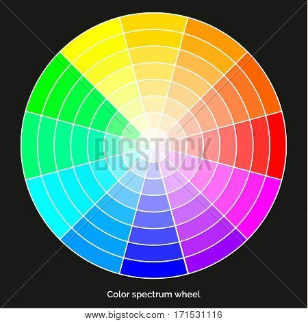 Vector color spectrum, Itten 12-color wheel, RBG palette, on black background