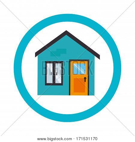 circular border with facade home vector illustration
