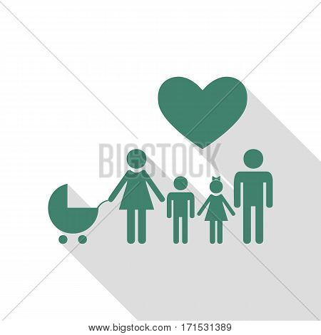 Family sign with heart. Husband and wife are kept children's hands. Veridian icon with flat style shadow path.