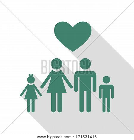 Family symbol with heart. Husband and wife are kept children's hands. Love. Veridian icon with flat style shadow path.