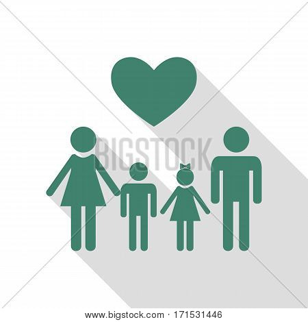Family symbol with heart. Husband and wife are kept children's hands. Veridian icon with flat style shadow path.