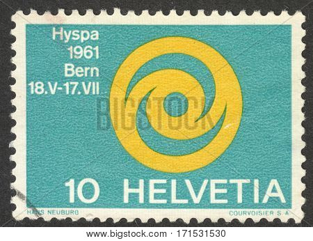 MOSCOW RUSSIA - CIRCA JANUARY 2017: a post stamp printed in SWITZERLAND shows the Emblem of Exhibition HYSPA 1961 circa 1961