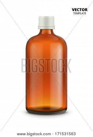 Medical bottle isolated on white background. Glass bottle vector mockup for design presentation ads. Medical bottle mockup. Pharmacy glass bottle for medicine or drugs