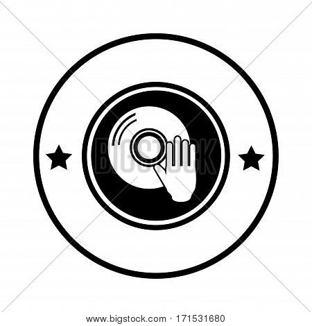 silhouette circular border with compact disc vector illustration