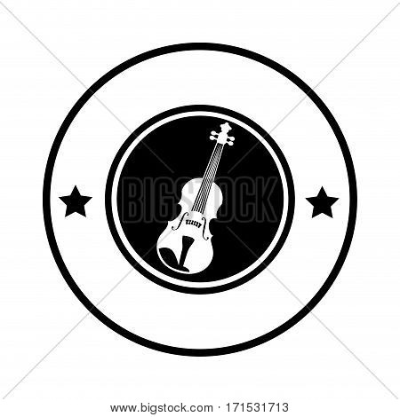 silhouette circular border with acoustic guitar musical vector illustration