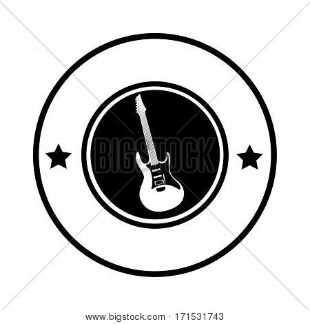 silhouette circular border with electric guitar musical vector illustration