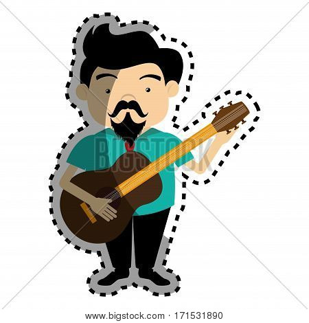sticker colorful silhouette singer with acoustic guitar vector illustration
