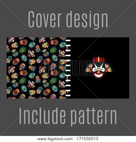 Cover design for print with tribal masks pattern. Vector illustration