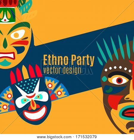 Ethno party card design with cartoon masks. Vector illustration