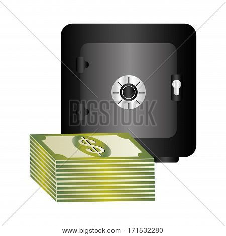 metal strong box with stacked banknote with dollar sign vector illustration