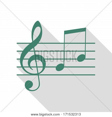 Music violin clef sign. G-clef and notes G, H. Veridian icon with flat style shadow path.