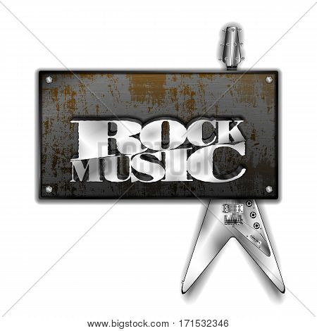Rusty metal sheet and iron rock music guitar. Isolated objects on a white background can be used with any image or text.