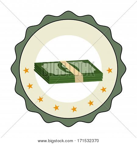 stamp border with stacked banknote with dollar sign vector illustration
