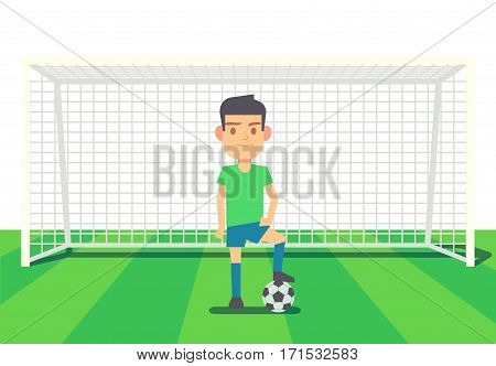 Soccer goalkeeper keeping goal on arena vector illustration. Cartoon goalkeeper with ball