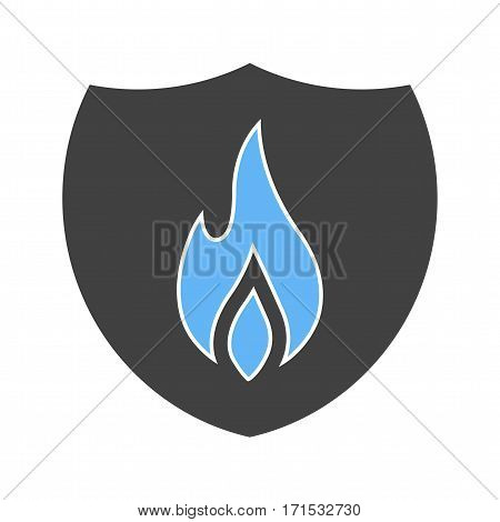 Fire, shield, safety icon vector image. Can also be used for firefighting. Suitable for web apps, mobile apps and print media.