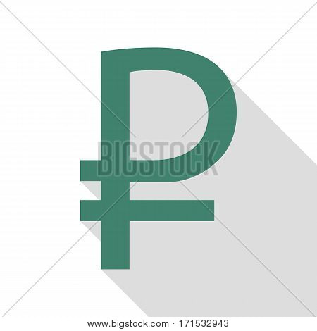 Ruble sign. Veridian icon with flat style shadow path.