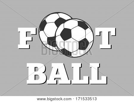 Football letters and ball background vector illustration. Sport concept banner