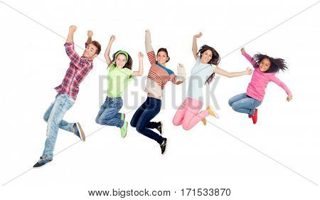 Modern family jumping isolated on a white background