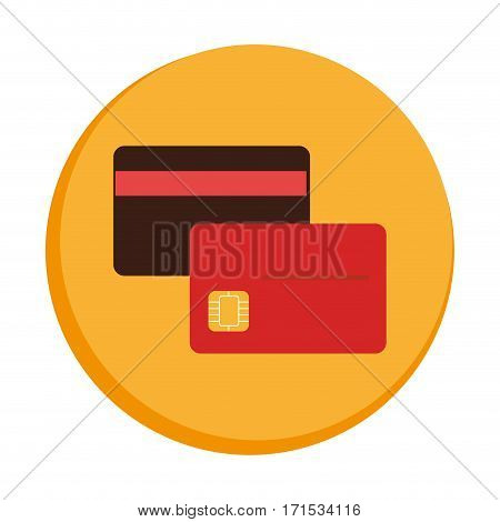 colorful circular border with Debit and credit cards vector illustration