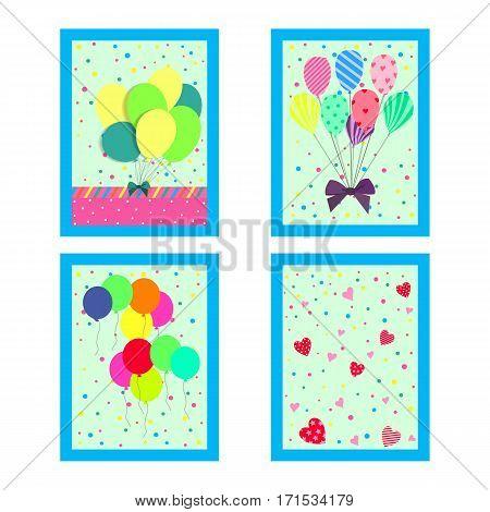 Vector flat illustration. Happy Birthday Greeting Card.