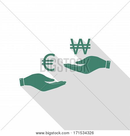 Currency exchange from hand to hand. Euro and Won. Veridian icon with flat style shadow path.