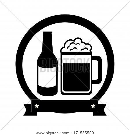 monochrome emblem with beer bottle and glass vector illustration