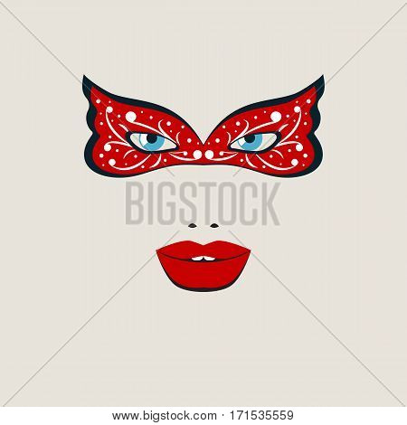 Beautiful female face in red theatre mask. Vector illustration.