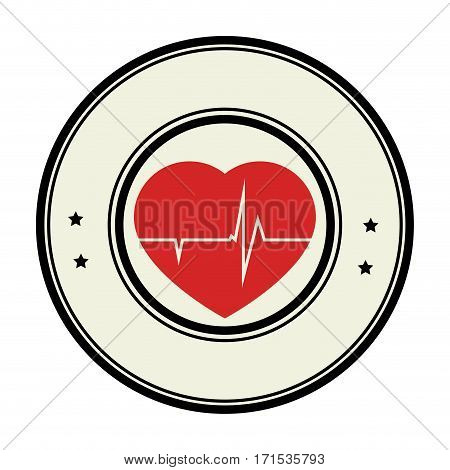 color circular emblem with heart with line vital sign vector illustration