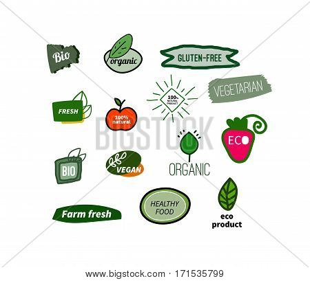 Set natural tags. Icons with labels organic, eco friendly product, gluten free. Hand drawn labels. Vector illustration
