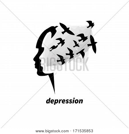 Symbol of depression. Flock of black birds flies out of  girl's head. Vector illustration