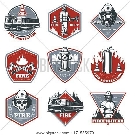Vintage firefighting labels set with fireman truck and rescue equipment in red and gray colors isolated vector illustration