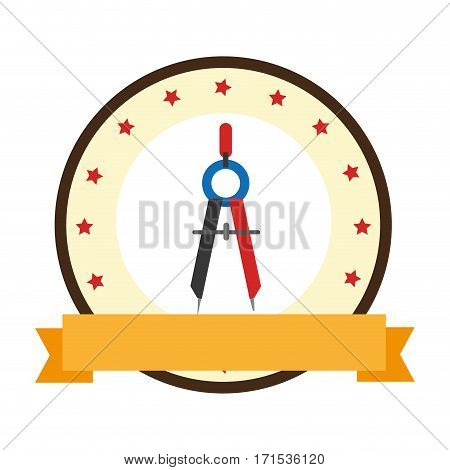 color emblem of compass with pencil vector illustration