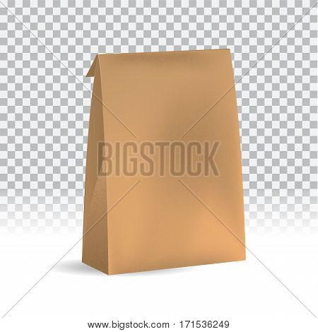 Food snack pack on transparent background. Blank craft paper packaging mock up can be use for template your design, promo, adv. Vector illustration gradient mesh. object for branding