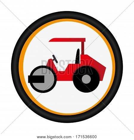 colorful circular emblem with road roller vector illustration
