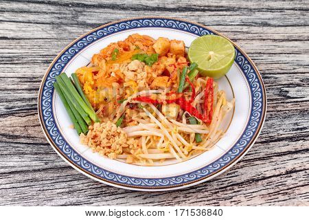 Popular Thai Fried Noodle Call Pad Tai On Thai-pattern Dish.