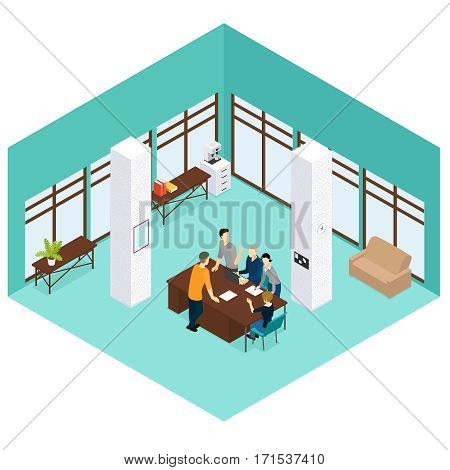 Isometric people teamwork concept with employees discussing business issues at office vector illustration