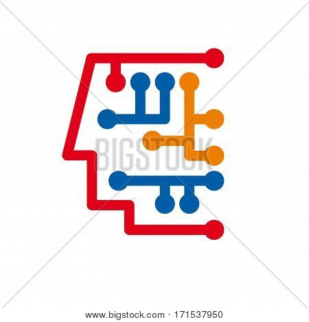 Vector sign digital generation head with dot and tip