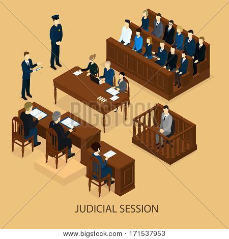 Isometric court session template with judge lawyers defendant police officer and jury trial vector illustration