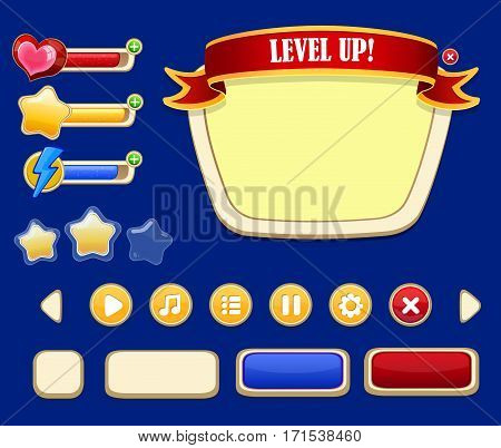 Cartoon game user interface concept with bright frame health experience energy indicators and navigation buttons isolated vector illustration