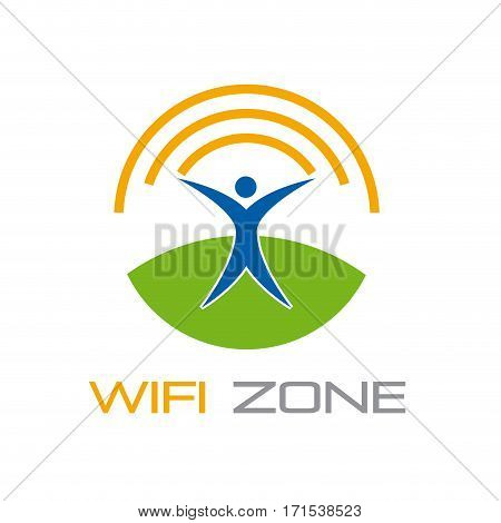 Vector sign wifi zone, isolated on white