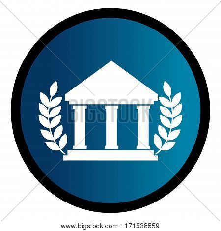 circular emblem with parthenon and olive branchs vector illustration