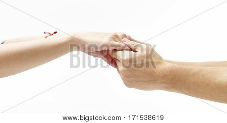 hands of a male and a female held together isolated on white background.