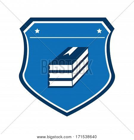 color shield with stacking books vector illustration