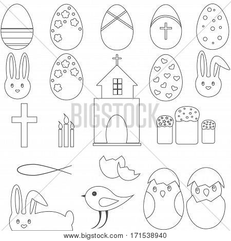Christian Symbol Set Easter eggs, bunny and church on the white background