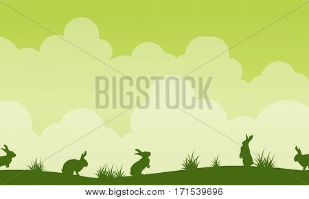 Background easter theme landscape silhouette vector art