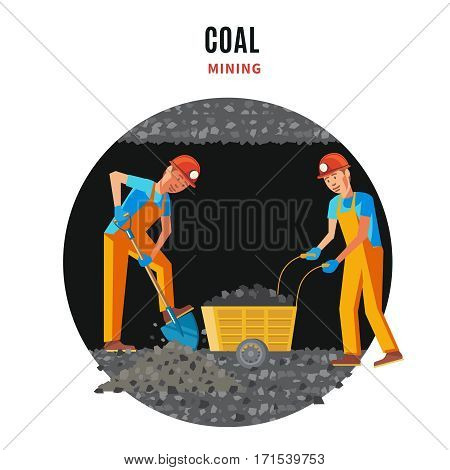 Professional miner people flat template with shovel and wheelbarrow working in mine vector illustration