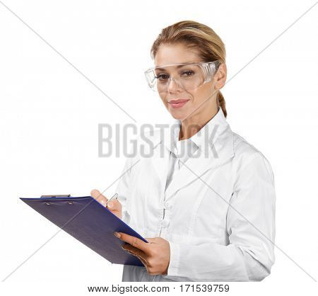 Female scientist with clipboard on white background