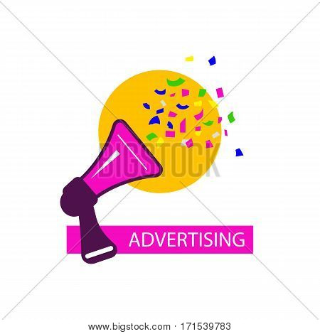 Icon advertising. Logo public relations. Megaphone with flying confetti. Vector illustration.