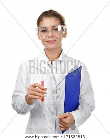 Female scientist with clipboard and glass tube on white background